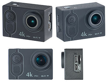 Somikon 4K-Action-Cam mit UHD-Video bei 24 fps, 16-MP-Sony-Sensor, IP68 Somikon Action-Cams 4K