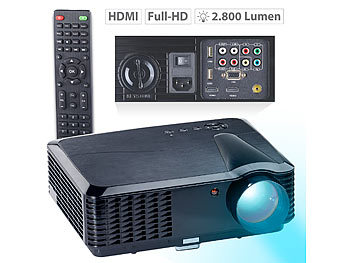 SceneLights LED-LCD-Beamer mit Media-Player,1280 x 800 (HD),2.800 lm (refurbished) SceneLights LED Heim-Beamer