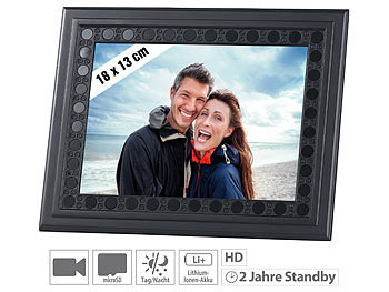 Bilderrahmen mit HD-Überwachungskamera, PIR, Nachtsicht, 2 J. Stand-by / Spycam