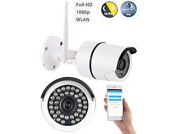 7links Wetterfeste WLAN-IP-Kamera mit Full HD 1080p und IR-Nachtsicht, IP66 7links Outdoor-WLAN-IP-Kameras