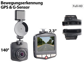 "Car Camera: NavGear Full-HD-Dashcam MDV-2770.gps mit GPS & G-Sensor, 5,8-cm-Display (2,3"")"