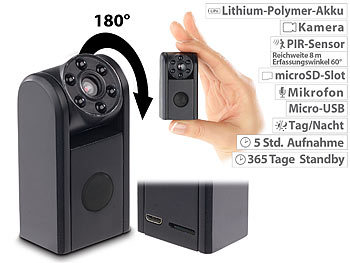 Mini-HD-Überwachungskamera, IR-Nachtsicht, PIR-Sensor, 1 Jahr Stand-by / Überwachungskamera