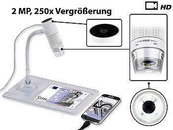 Digitales Mikroskop mit HD-Kamera und Ständer, 2 MP, 250x Vergrösserung / Mikroskop