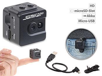 Ultrakompakte Micro-Videokamera mit HD-720p-Auflösung & LED-Nachtsicht / Mini Kamera