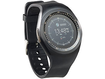 simvalley MOBILE 2in1-Uhren-Handy & Smartwatch für iOS & Android, rundes Display simvalley MOBILE Handy-Smartwatches mit Bluetooth für Android und iOS