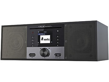 VR-Radio Stereo-Internetradio m. CD-Player, DAB+/FM, Farbdisplay, Wecker, 32 W VR-Radio Stereo-Internetradios mit CD-Playern