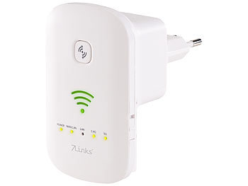 Internetverstärker: 7links Dualband-WLAN-Repeater, Access Point & Router, 1.200 Mbit/s, WPS-Taste