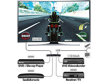 "auvisio HDMI-Video-Rekorder ""Game Capture V3"", Full HD, USB-/microSD-Aufnahme auvisio HDMI- & Game-Recorder für Full-HD-Aufnahmenn"