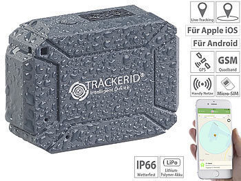 GPS Logger: TrackerID GPS- & GSM-Tracker, Live-Tracking-App, SOS-Funktion, Geofencing, IP66