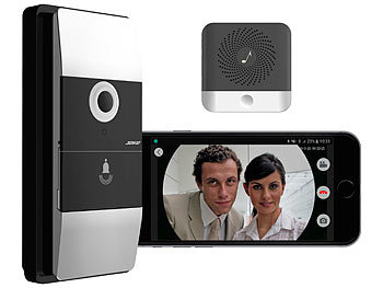 somikon klingel app wlan video t rklingel mit app klingelempf nger 180 bildwinkel akku. Black Bedroom Furniture Sets. Home Design Ideas