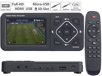 HDMI Videorecorder: auvisio HDMI-Video-Rekorder mit Farb-Display, Full HD, USB, SD, 60 Bilder/Sek.