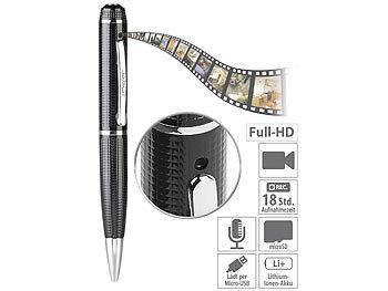 Kugelschreiber-Videokamera mit blauer Mine und Foto-Funktion, Full HD / Spycam