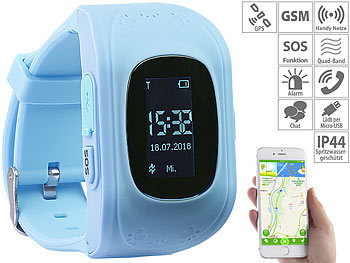 Kinder-Smartwatch PW-110.kids mit Telefon- und SOS-Funktion, GPS-/LBS-Tracking, blau 6