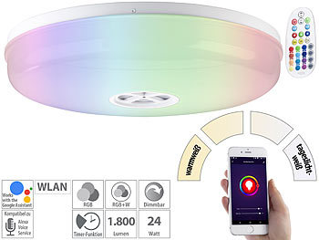 Details zu Smart Home RGB LED Decken Lampe Google Alexa Sternen Effekt Leuchte weiß DIMMER