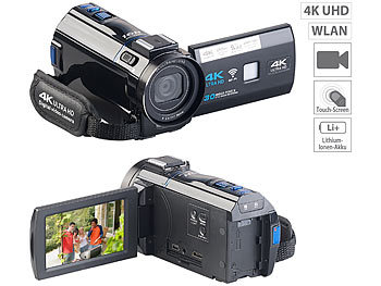 Video Camera: Somikon 4K-UHD-Camcorder mit Panasonic-Sensor, WLAN, App, HD mit 120 B/Sek.
