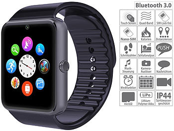 simvalley Mobile Handy-Uhr & Smartwatch mit IPS-Display, Kamera, Bluetooth & App