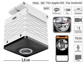 Mini-Akku-HD-Überwachungskamera mit 360°, 960p, Nachtsicht, WLAN, App / Überwachungskamera