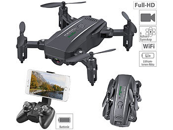 Dronen: Simulus Faltbarer FPV-Mini-Quadrocopter, Full HD, WLAN, App, 5-MP-Sensor, 50 m