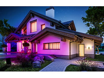 Luminea Home Control 4x Outdoor-Fluter, RGB-CCT-LEDs, Bluetooth & App, 4.500 lm + Gateway