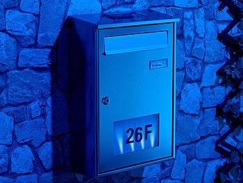lunartec briefkasten beleuchtet edelstahl briefkasten mit solar leucht hausnummer briefkasten. Black Bedroom Furniture Sets. Home Design Ideas
