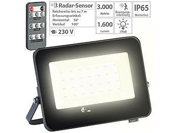 luminea aussenleuchte wetterfester led fluter radar bewegungssensor fernbedienung 20 w. Black Bedroom Furniture Sets. Home Design Ideas