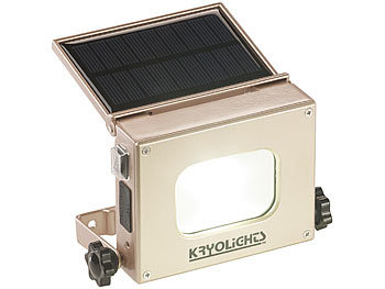 Akku Strahler: KryoLights 2in1-LED-Fluter und Powerbank, Solar-Panel, 10-Watt-COB-LED, 370 Lumen