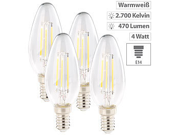 LED Kerzenlampen: Luminea 6er-Set LED-Filament-Kerzen, E14, A+, 4Watt, 470 Lumen, 360°, warmweiß