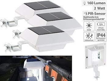 Solar-LED-Dachrinnenleuchte, 160 lm, 2 W, PIR-Sensor, weiss, 3er-Set | Led Solar Dachrinnenleuchten Mit Bewegungsmelder Nachtlicht Funktion