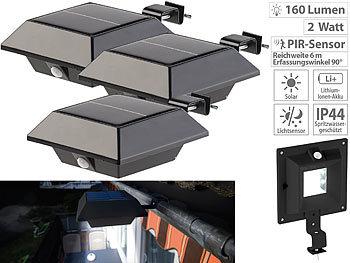 160 lm Lunartec Dachrinnen Lampe: Solar-LED-Dachrinnenleuchte 3er-Set PIR-Sensor schwarz Solar Dachrinnenbeleuchtung 2 W