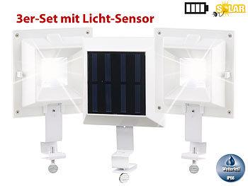 3er-Set Solar-LED-Dachrinnenleuchte, 20 lm, 0,2 W, Licht-Sensor, weiss | Dachrinnenleuchte