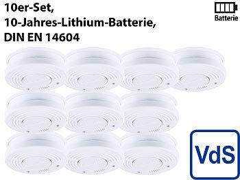 Fotoelektrischer Rauchwarnmelder, VdS-zertifiziert, 10er-Set / Rauchmelder