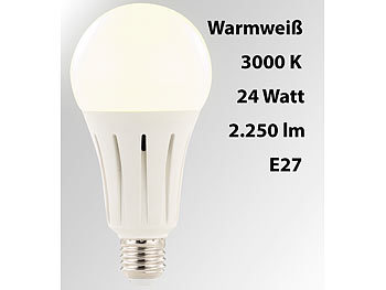 Energiesparlampen: Luminea High-Power-LED-Lampe E27, 24 Watt, 2.250 Lumen, warmweiß 3.000 K