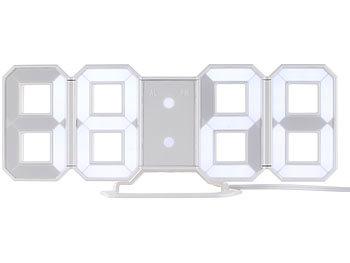 lunartec gro e digital led tisch wanduhr 7 segmente dimmbar wecker 21 cm. Black Bedroom Furniture Sets. Home Design Ideas
