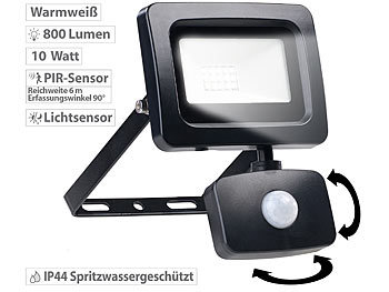 Eingangs-Lampen: Luminea Mini-LED-Fluter, PIR-Bewegungssensor, 10 Watt, 800 lm, warmweiß, IP44