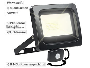 Luminea LED-Fluter mit PIR-Sensor, 50 Watt, 4.000 Lumen, warmweiß, IP44 Luminea LED-Fluter mit Bewegungssensoren (warmweiß)