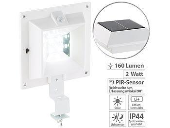 Solar-LED-Dachrinnenleuchte mit PIR-Sensor, 160 lm, 2 Watt, IP44, weiss | Solar Strahler