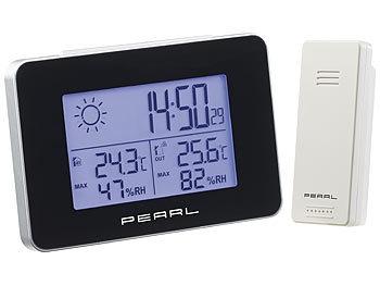 pearl aussenthermometer wetterstation mit funkwecker thermo hygrometer und funk au ensensor. Black Bedroom Furniture Sets. Home Design Ideas