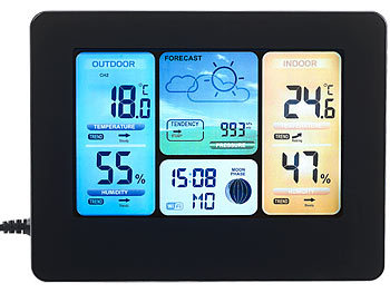 infactory wlan thermometer wlan funk wetterstation mit au ensensor farbdisplay uhr gratis. Black Bedroom Furniture Sets. Home Design Ideas