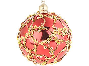 infactory christbaumschmuck 12er set weihnachtsbaum kugeln mit pailletten federn rot und. Black Bedroom Furniture Sets. Home Design Ideas