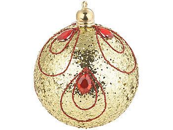 Infactory 12er Set Weihnachtsbaum Kugeln Mit Pailletten Federn