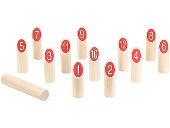 Wikinger-Kegel-Spiel aus Massivholz, für draussen, mit Transporttasche / Spielzeug