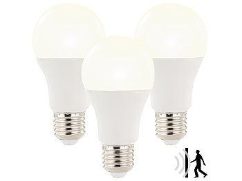 luminea sparsame led lampen 3x led lampe mit radar bewegungssensor 12 w e27 ww k. Black Bedroom Furniture Sets. Home Design Ideas