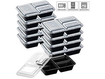 10er-Set Lebensmittel-Boxen mit je 3 Trennfächern & Deckel, 1,2 l / Lebensmittelboxen