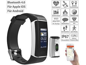 Fitness-GPS-Armband mit XL-Farb-Display & App für 6 Sportarten, IP67 / Smartwatch