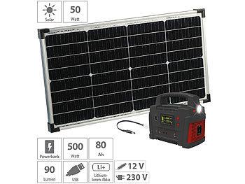 revolt Stromerzeuger: Powerbank & Solar Konverter mit 50