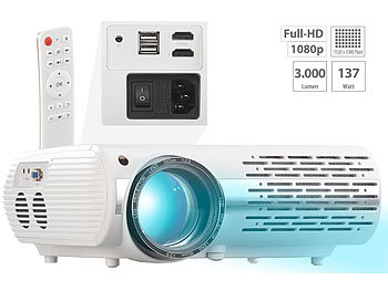 Projector: SceneLights Full-HD LED-LCD-Beamer mit Media-Player, 1920 x 1080 Pixel, 3.000 lm