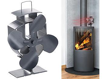 Stromloser Kaminofen-Ventilator mit 4 Lüfter-Blättern, für 60 - 350 °C / Ofenventilator