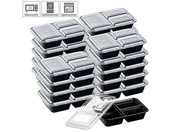 20er-Set Lebensmittel-Boxen mit je 3 Trennfächern & Deckel, 1 l / Lebensmittelboxen