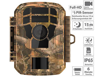 Full-HD-Wildkamera, PIR-Bewegungssensor, Nachtsicht, Farbdisplay, IP65 / Wildkamera
