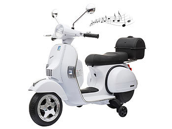 Original Vespa-lizensierter elektrischer Kinder-Motorroller, LEDs, MP3 / Vespa